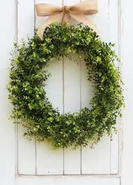 T Spring Wreath Door Summer Boxwood Wreaths Spring  Artificial Front DoorOutdoor Wreath