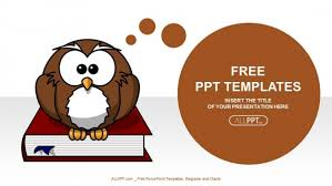 cute powerpoint background cute owl on books education powerpoint templates