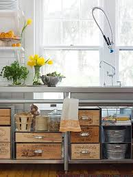 Appealing DIY Wood Wine Crate Storage In Kitchen Counter With Wide Sink And  White Shelves In Brick Wall