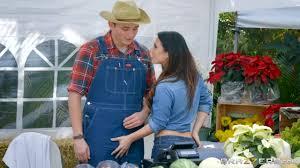 Horny cock starved Eva Lovia gets man meat in the farm market.