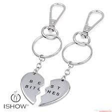 2 parts broken heart best es letter silver plated pendant keychains f women men jewelry brother charm souvenirs