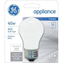 ge 40w a15 appliance frosted standard light bulb