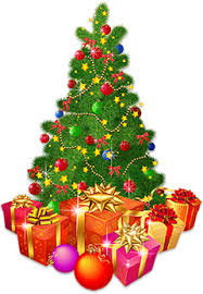 christmas tree with presents and lights clip art. Christmas Tree With Lots Of Presents Intended And Lights Clip Art