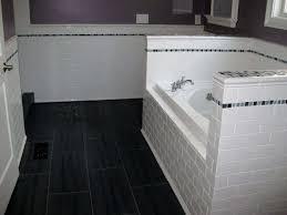 image of black and white subway tile bathroom design