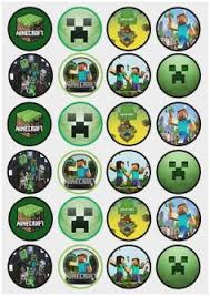 Printable Minecraft Cupcake Toppers Pretty Minecraft Inspired Set Of