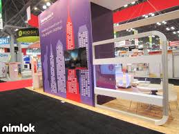 trade show booths nyc displays nimlok booth with tv painting walls black decorating bay