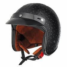 open face 3 4 motorcycle helmet retro vintage pu leather black brown black l cod