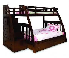 This espresso-toned modern style bunk bed features curved supports and  perpendicular drawers, facing