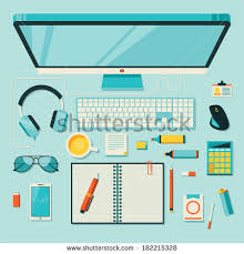 designer office desk isolated objects top view. flat design modern vector illustration concept of creative office workspace workplace with computer top designer desk isolated objects view
