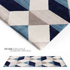 en casa gray blue geometric area rug 3d model max obj fbx 1