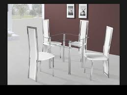small square clear glass dining table and 4 chairs set