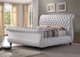 norway white leather sleigh bed frame