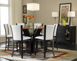... Dining Tables, Enchanting Black Round Modern Wooden High Top Dining  Table Set Stained Ideas: ...