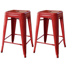 red bar stools. Stackable Metal Bar Stool In Red (Set Of 2 Stools