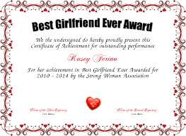 Best Performance Award Certificate Best Girlfriend Ever Award Certificate Created With