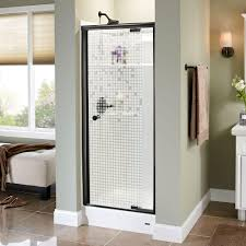 semi frameless single shower doors 2. Delta Silverton 31-1/2 In. X 66 Semi-Frameless Pivot Shower Door In Bronze With Mozaic Glass Semi Frameless Single Doors 2