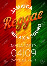 Reggae Music Party Poster Template Rasta Dance Club Flyer Concept