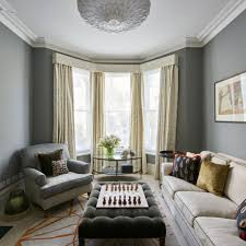 Window Living Room Grey Living Room With Bay Window And Floor Length Curtains