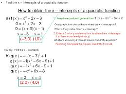how to obtain the x intercepts of a quadratic function 1