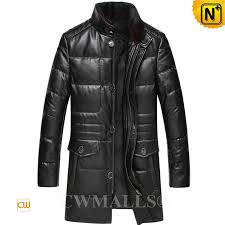 cwmalls men leather down coat with mink collar cw817005
