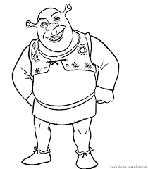 shrek color page coloring pages for kids cartoon characters shrek coloring pages