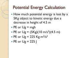 potential energy calculation