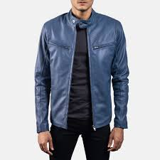 mens ionic blue leather biker jacket 1