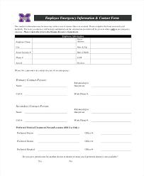 In Case Of Emergency Form Template Wigsforwomen