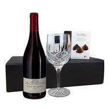 les violettes cotes du rhone france flute and chocolate gift box