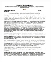 Resume Content Example 7 Summer Job Resume Templates Free Samples Examples Format