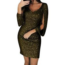 Women Dresses for Special occaions Sexy Ladies <b>Solid Sequined</b> ...