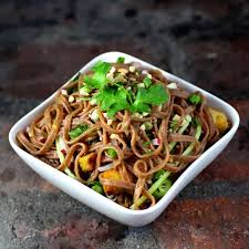 red rice noodles with stir fried h