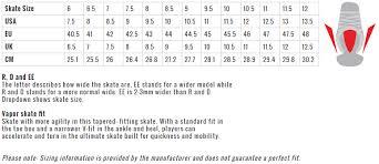 Bauer Vapor Size Chart 13 Studious Bauer Runner Size Chart