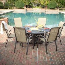 perfect madison bay 7 piece sling patio dining set with fire pit fire pit dining
