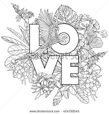 coloring book coloring page with word love and tropical birds and plants