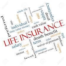 life insurance word cloud concept angled with great terms such as term whole life