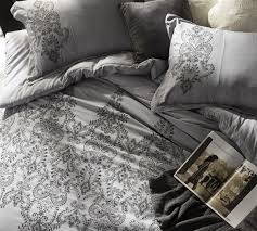 baroque stitch queen duvet cover oversized queen xl alloy pewter embroidery