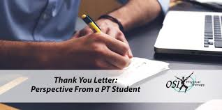 Thank You Letter Perspective From A Pt Student