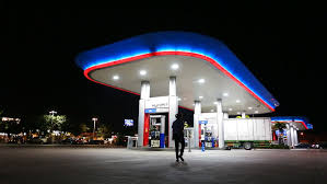 chonburi thailand november 20 2016 ptt gas station with vehicle on night