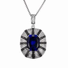 luxury 6ct blue sapphire inlay spinel pendant for women genuine 925 sterling silver new retro feminine