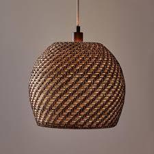 round spiral woven rattan shade pendant
