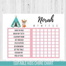 Editable Reward Chart Chore Chart Tribal Fox Editable Reward Chart