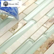 tst sea green glass conch beach style tile white stone kitchen backsplash bathroom wall art tstmgt084