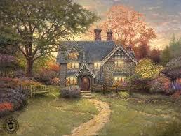 4 gingerbread cottage thomas kinkade oil paintings