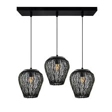 3 lights linear cer chandelier black steel wire mesh pendant decorative black kitchen area and dining room light led filament light