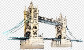 brown castle and bridge art london