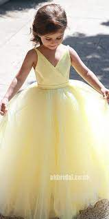a line tulle yellow flower girl dresses