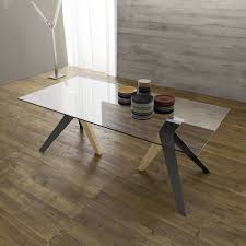 Esstisch Mit Glasplatte Und Beine Aus Metall Und Holz Trame