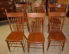 antique press back oak set of 6 dining room chairs outstanding sy