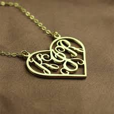 solid gold initial monogram personalised heart necklace the name jewellery